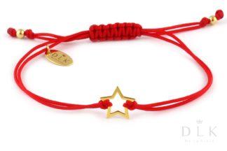 Bransoletka Czerwony sznurek ze złotą gwiazdką