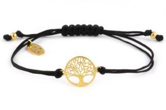 Bransoletka Czarny sznurek ze złotym drzewem życia