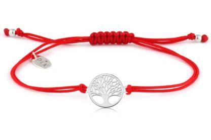 Bransoletka Czerwony sznurek ze srebrnym drzewem życia