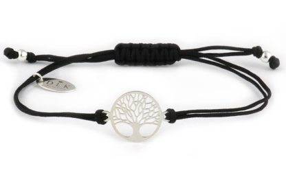 Bransoletka Czarny sznurek ze srebrnym drzewem życia