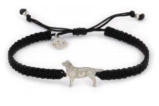 Kolekcja Rasy psów Bransoletka z labradorem srebrnym na czarnej makramie