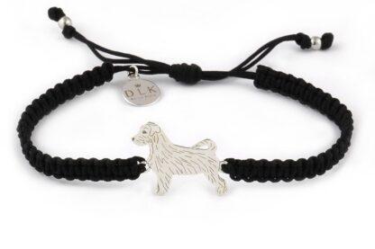 Kolekcja Rasy psów - Bransoletka z Jack Russell terrier srebrnym na czarnej makramie