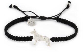 Kolekcja Rasy psów - Bransoletka z amstaffem srebrnym na czarnej makramie