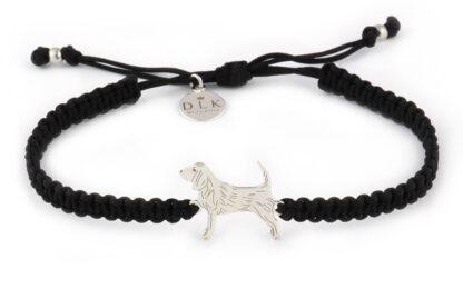Kolekcja Rasy psów - Bransoletka z beagle srebrnym na czarnej makramie