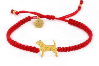 Kolekcja Rasy psów - Bransoletka z beagle złotym na czerwonej makramie