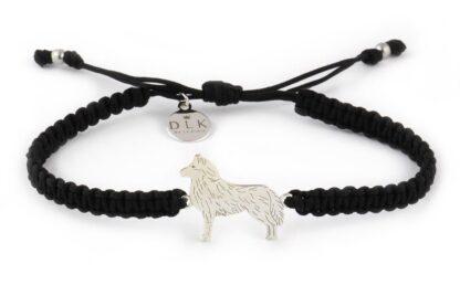 Kolekcja Rasy psów - Bransoletka z husky srebrnym na czarnej makramie