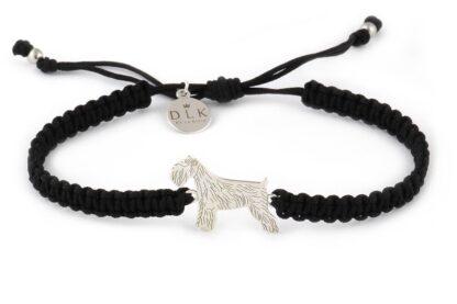 Kolekcja Rasy psów - Bransoletka ze sznaucerem srebrnym na czarnej makramie