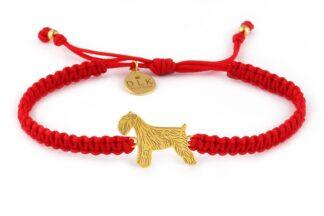 Kolekcja Rasy psów - Bransoletka ze sznaucerem złotym na czerwonej makramie