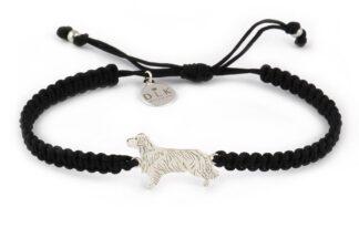 Kolekcja Rasy psów - Bransoletka z golden retrieverem srebrnym na czarnej makramie