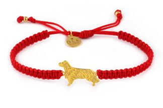 Kolekcja Rasy psów - Bransoletka z golden retrieverem złotym na czerwonej makramie