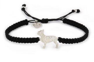 Kolekcja Rasy psów - Bransoletka z buldogiem francuskim srebrnym na czarnej makramie