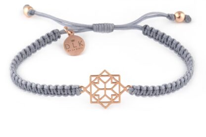 Bransoletka Geometryczna rozeta Rose Gold na szarym sznurku makramie