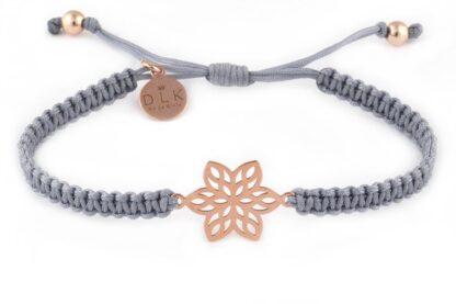 Bransoletka Kwiatek Rose Gold na szarym sznurku makramie