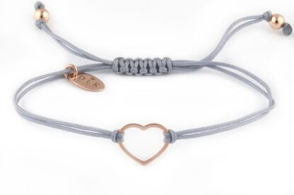 Bransoletka Szary sznurek z sercem w kolorze Rose Gold