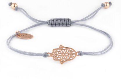 Bransoletka Szary sznurek z ręką Fatimy Chamsa kolorze Rose Gold