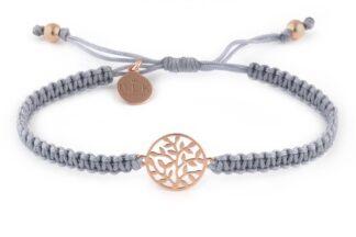 Bransoletka Drzewo życia z listkami Rose Gold na szarym sznurku makramie