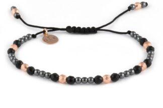 Kolekcja Rose Gold - Różowe i czarne hematyty z kulkami onyksu na czarnym sznurku