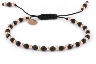 Kolekcja Rose Gold - Onyks i różowe hematyty na czarnym sznurku