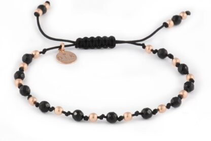 Kolekcja Rose Gold - Onyks z różowymi hematytami na czarnym sznurku
