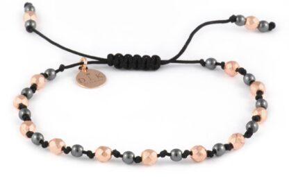 Kolekcja Rose Gold - Różowe i srebrne hematyty na czarnym sznurku