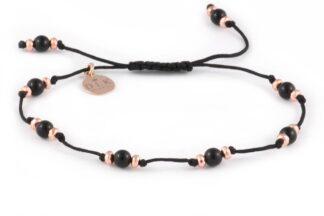 Kolekcja Rose Gold - Kulki onyksu i różowe hematyty na czarnym sznurku