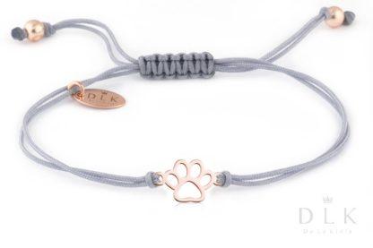 Bransoletka Szary sznurek z psią łapką w kolorze Rose Gold