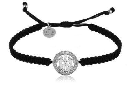 Bransoletka ze znakiem zodiaku BLIŹNIĘTA srebrne na czarnej makramie