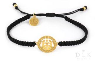 Bransoletka ze znakiem zodiaku BLIŹNIĘTA złote na czarnej makramie
