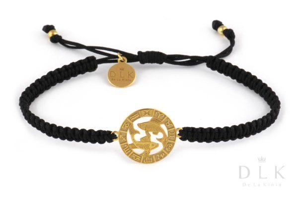 Bransoletka ze znakiem zodiaku RYBY złote na czarnej makramie