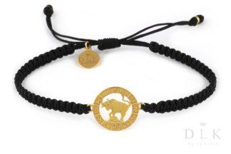 Bransoletka ze znakiem zodiaku BYK złoty na czarnej makramie