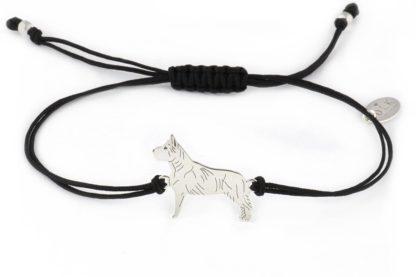 Bransoletka z amstaffem srebrnym na czarnym sznurku