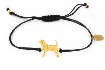 Bransoletka z beagle złotym na czarnym sznurku