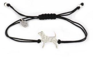 Bransoletka z beagle srebrnym na czarnym sznurku