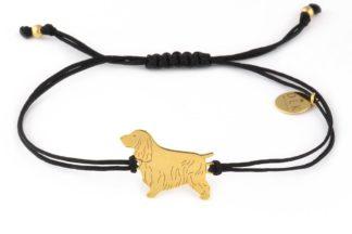 Bransoletka z cocker spanielem złotym na czarnym sznurku