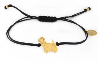 Bransoletka z westem złotym na czarnym sznurku