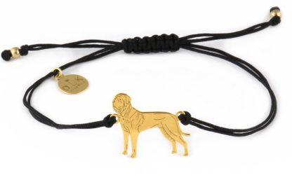 Bransoletka z tosą złotym na czarnym sznurku