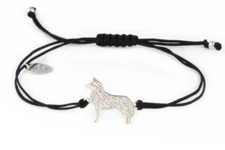 Bransoletka z husky srebrnym na czarnym sznurku