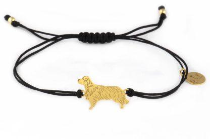 Bransoletka z golden retrieverem złotym na czarnym sznurku