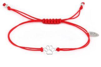 Bransoletka Czerwony sznurek z psią łapką srebrną