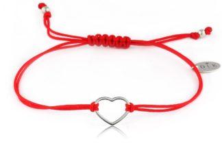 Bransoletka Czerwony sznurek z sercem srebrnym