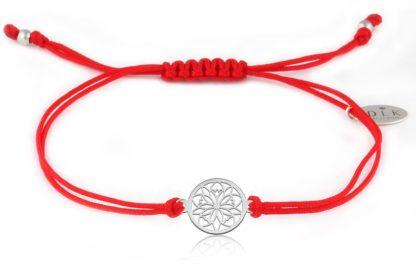 Bransoletka Czerwony sznurek z rozetką srebrną