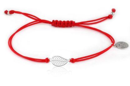 Bransoletka Czerwony sznurek z listkiem srebrnym