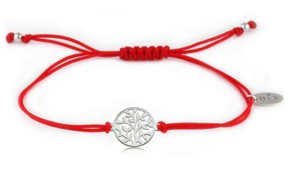 Bransoletka Czerwony sznurek z listkami srebrnymi