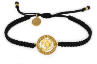 Bransoletka ze znakiem zodiaku RAK złoty na czarnej makramie