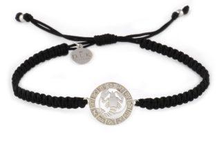 Bransoletka ze znakiem zodiaku RAK srebrny na czarnej makramie