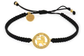 Bransoletka ze znakiem zodiaku LEW złoty na czarnej makramie