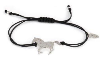 Bransoletka ze srebrnym koniem na sznurku