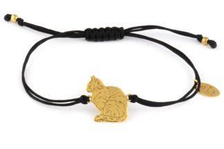 Bransoletka Czarny sznurek ze złotym kotem