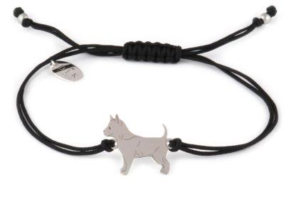 Bransoletka z chihuahua srebrnym na czarnym sznurku