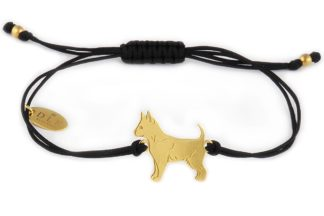Bransoletka z chihuahua złotym na czarnym sznurku